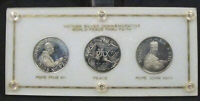 1958 Vatican Proof Sterling Medals WORLD PEACE THRU FAITH 3 Coins in Orig Holder