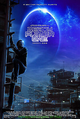 READY PLAYER ONE MOVIE POSTER DS 27x40 + Steven Spielberg BONUS! A.I. Included !