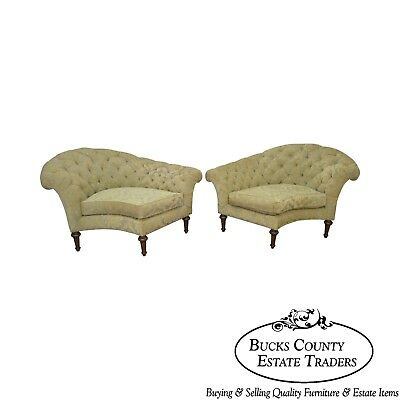 Henredon French Louis XVI Style Pair of Tufted Meridienne Chaise Lounges