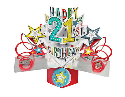 Age 21 21st Birthday Pop Up Card 3D Luxury Unique Greeting Gift Card
