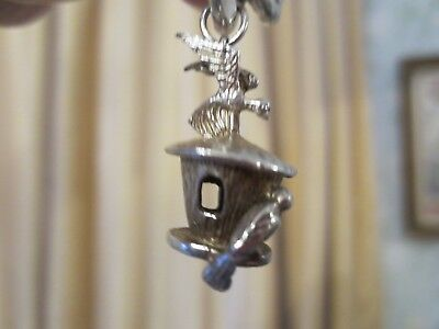 Antique Silver Charm Victorian Bird Birdhouse Garden Doves Feeder Heavy Large