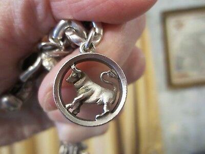 Antique Silver Charm Victorian Zodiac Bull Taurus Circle Heavy Large