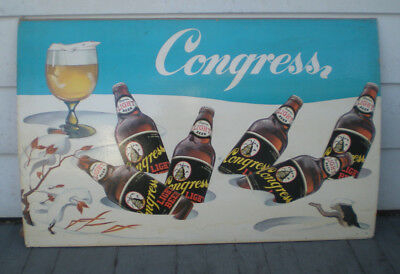 1950s Congress Light Beer Paper Litho Cardboard Sign Haberle Brewing Syracuse NY