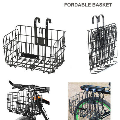 Foldable Bike Basket Portable Collapsible Extra Bicycle Storage Front Rear Black