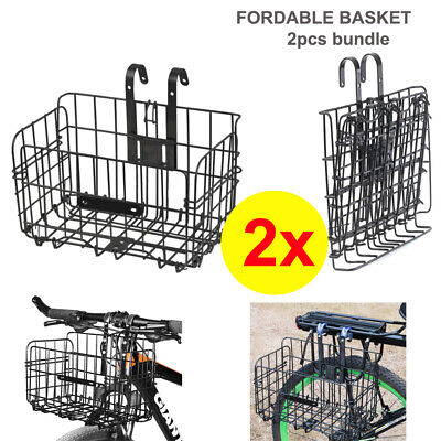2x Foldable Bike Basket Portable Collapsible Extra Storage Front or Rear Black