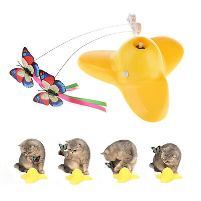 Cat Kitten Toys Electric Rotating Butterfly Rod Pet Cat Teaser Scratch Play Toy