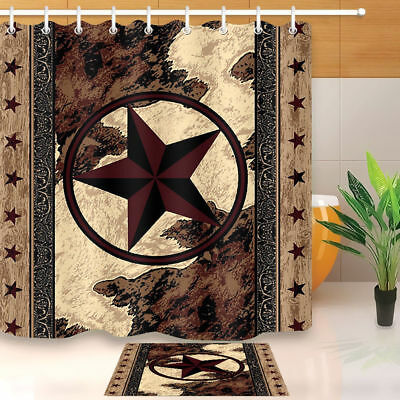 Vintage Texas Star Fabric Shower Curtain Set Western Style Bathroom Accessories
