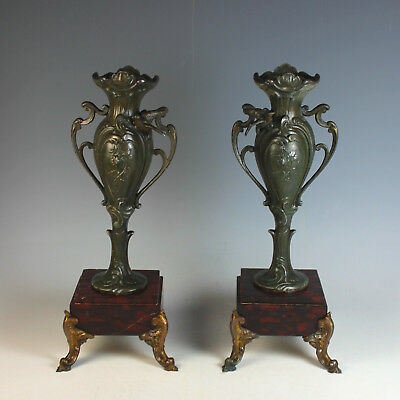 Set of Antique French Bronze and Marble Garnitures Urns Red and Black Marble