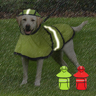 Waterproof Reflective Dog Raincoat & Hole Dog Rain Coat for Medium Large Dogs