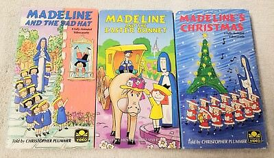 Lot of 3 MADELINE Children's VHS Tapes GOLDEN BOOK VIDEOS Bemelmans DIC Cinar
