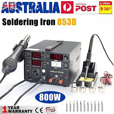853D YIHUA 3in1 Soldering Iron Station Hot Air Rework Station DC Power Supply QN