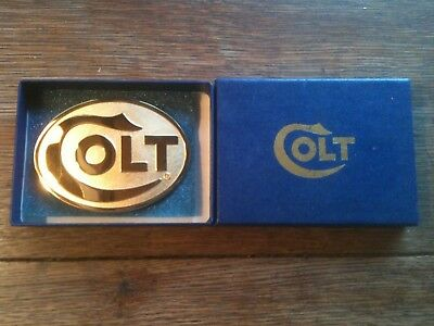 New In Box Vintage Gold Colt Firearms Factory Belt Buckle-Free Shipping!!!!!!!
