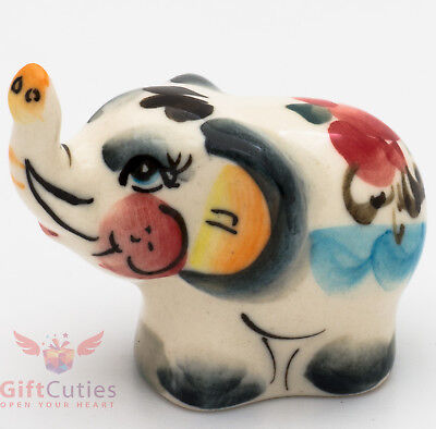 Happy Elephant Collectible Gzhel style Porcelain small Figurine hand-painted