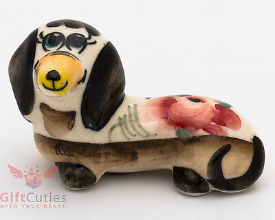 Porcelain DACHSHUND Dog Figurine in Gzhel pattern multi colors handmade