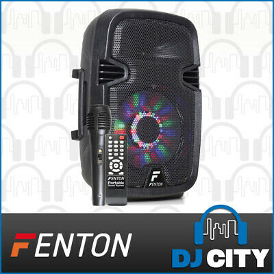 Fenton FT8LED 8-Inch Party DJ Powered Speaker 300W w/ Battery & LED Light Show