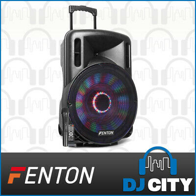 Fenton FT15LED 15-Inch Party DJ Powered Speaker 800W w/ Battery & LED Light Show