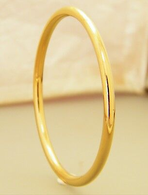 """Gold Classic Narrow Golf Creola Baby Bangle Size 45mm - 1 3/4"""" Gold Plated"""