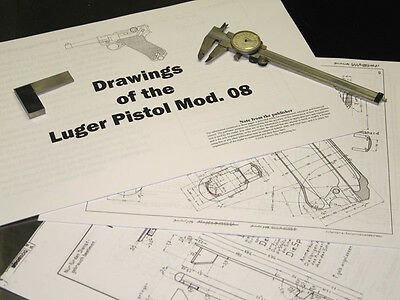 LUGER MOD  08 Measured Drawings, Blueprints, 45 pages!!