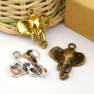 6Pcs Tibetan Silver,Antiqued Gold,Bronze Elephant Head Charm Pendants M1186