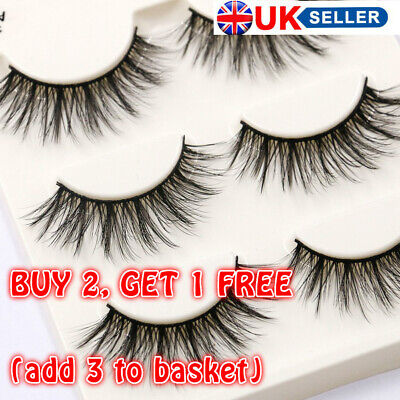 SKONHED Sexy Messy Wispy Mink Hair Lashes False Eyelashes Makeup Tools 3 Pairs