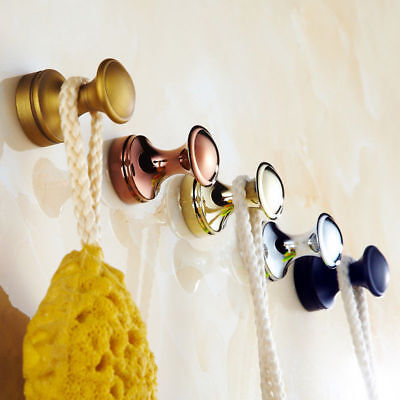 Retro Antique Round Solid Brass Wall Mounted Single Robe Hook Bathroom Hangers