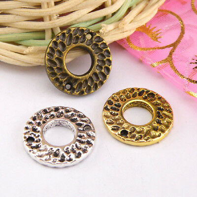 4Pcs Tibetan Silver,Gold,Bronze Circle Charms Pendant Connectors DIY M1250