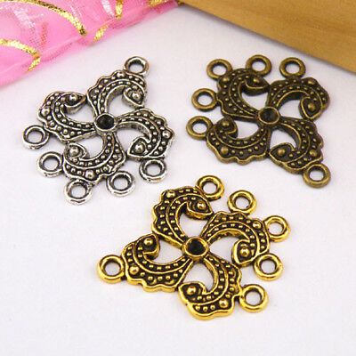 5Pcs Tibetan Silver,Antiqued Gold,Bronze 1-5 Charm Pendants Connectors M1258