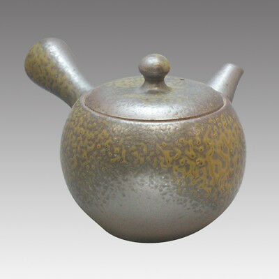 Tokoname Kyusu teapot - ISSIN - Black Iraq glaze 360cc/ml - Refresh steel net