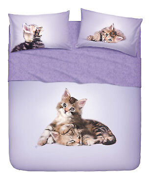 Completo Letto Copriletto Matrimoniale Lenzuola Bassetti Extra Lovely Cats