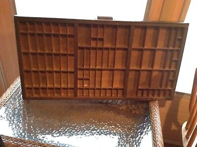 Antique Printer's Drawer Shadow Box Large approx 32 x 17