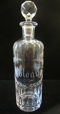 Antique ABP Cut & Etched Leaded Glass Cologne Apothecary Dresser Bottle Rare!