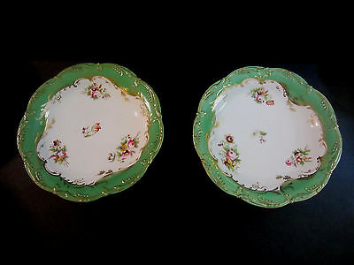 """Antique  Pair Of Hand Painted Ridgways Semi Porcelain Footed Compotes. 9 1/2""""D"""