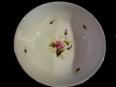 Antique Hand Painted Morning Glory Orange Porcelain Footed Centerpiece Bowl Huge