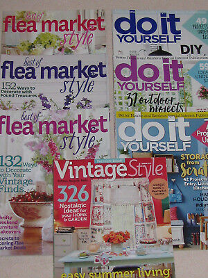 Vintage Style, Best of Flea Market Style & Do It Yourself Magazine Lot of 7 mags