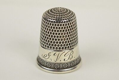Antique Simons Bros. Sterling Silver Thimble  Size 10 Monogrammed