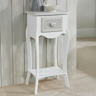 Shabby Chic White Grey Bedside Lamp Side End Table With Heart Knobs
