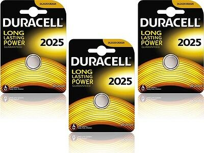3 X Duracell Batteries CR2025 DL2025 Blister Pack 3V Lithium Button Cell to 2025