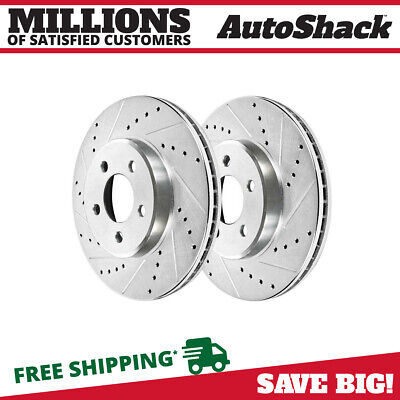 Front Pair (2) Silver Drilled Slotted Rotors 5 Stud Fits 1994-2004 Ford Mustang