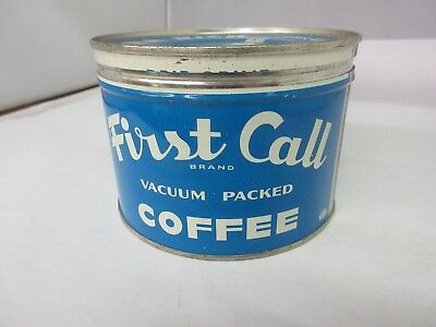 Vintage First Call Brand  Coffee Tin Advertising Collectible M-43
