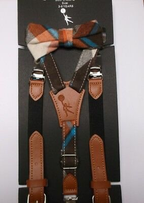Troy James Collection Brown Check Bow Tie & Suspenders Set NWT 3-6 Years