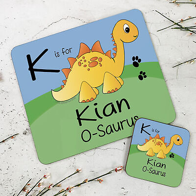 Personalised Kids New Yellow Stegosaurus Wooden Glossy Placemat and Coaster Set