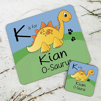 Personalised Wooden Glossy Yellow Stegosaurus Placemat & Coaster Set for Kids