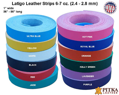 Latigo Leather Strips 1 inch, 6 -7 oz - up to 96 inches long - Craft - Jewelry