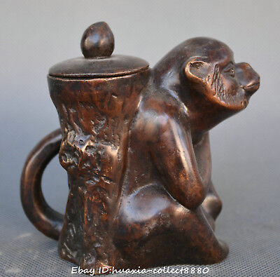 China fengshui old bronze carve gild animal lucky monkey statue teapot teakettle