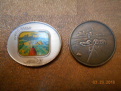 Lot of 2 Israeli silver medals Judah tribes of Israel Jewish Dali design