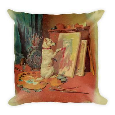 Victorian Style Artwork Square Throw Pillow - Antique Drawing of a Whimsical Dog