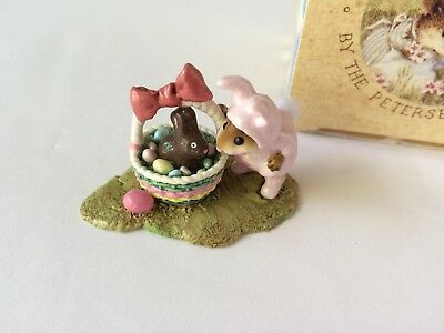 Wee Forest Folk M-251 BUNNY IN A BASKET - Pink w/Chocolate Bunny - MINT