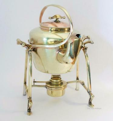 Art Nouveau Brass & Copper Tea Kettle and Burner on Benson style Stand c.1910