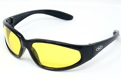 Unbreakable Yellow Tinted Anti-Fog motorcycle sunglasses Biker glasses + Pouch