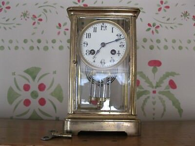 Crystal Regulator Clock ,FRENCH ,Porcelain Face , Beveled Glass , Vintage